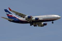Aeroflot plane. Aeroflot Ilyushin 96 landing on a clear day Royalty Free Stock Photography