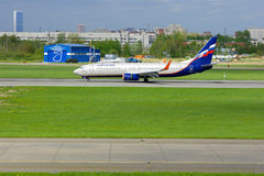 Aeroflot Russian Airlines Boeing 737-8LJ aircraft in Pulkovo International airport in Saint-Petersburg, Russia Royalty Free Stock Photos