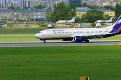 Aeroflot Russian Airlines Boeing 737-8LJ aircraft in Pulkovo International airport in Saint-Petersburg, Russia Royalty Free Stock Photo