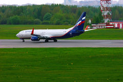 Aeroflot Russian Airlines Boeing 737-8LJ aircraft in Pulkovo International airport in Saint-Petersburg, Russia Royalty Free Stock Photography
