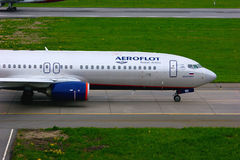 Aeroflot Russian Airlines Boeing 737-8LJ aircraft in Pulkovo International airport in Saint-Petersburg, Russia Stock Photography