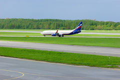Aeroflot Russian Airlines Boeing 737-8LJ aircraft in Pulkovo International airport in Saint-Petersburg, Russia Royalty Free Stock Image