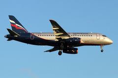 Aeroflot Sukhoi Superjet-100 RA-89045 landing at Sheremetyevo international airport. SHEREMETYEVO, MOSCOW REGION, RUSSIA - JULY 13, 2015: Aeroflot Sukhoi Royalty Free Stock Photos