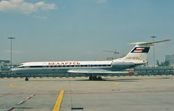 Aeroflot Witrussische die Tupolev Turkije-134A in Frankfurter worstje, Duitsland wordt genomen Royalty-vrije Stock Foto's
