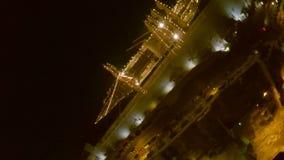 Aerofutazh. Malta.night port. yacht decorated with illumination. a wonderful night walk along the waterfront. Night city from a bird`s-eye view. Aerofutazh stock video footage
