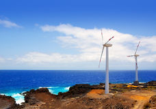 Aerogenerator windmills in front of ocean sea Stock Photos