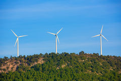 Aerogenerator windmills in the mountain top Stock Images
