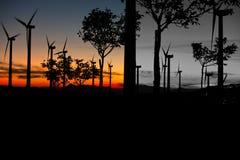 Aerogenerators no por do sol preto e branco Imagens de Stock Royalty Free