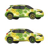 Aerography car in lime style. vector drawing illustration royalty free stock image