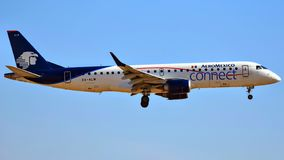 AeroMexico Embraer ERJ-190 coming in for a landing stock photography