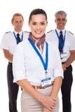 Aeromoça de bordo e pilotos Fotos de Stock