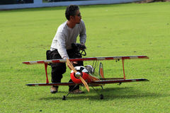 Aeromodelling. Hobbyists fly model aircraft in Karanganyar, Central Java, Indonesia royalty free stock images