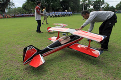 Aeromodelling. Hobbyists fly model aircraft in Karanganyar, Central Java, Indonesia royalty free stock photography
