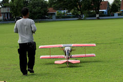Aeromodelling. Hobbyists fly model aircraft in Karanganyar, Central Java, Indonesia royalty free stock image