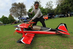 Aeromodelling. Hobbyists fly model aircraft in Karanganyar, Central Java, Indonesia stock photography