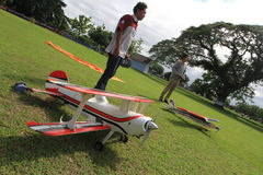 Aeromodelling. Hobbyists fly model aircraft in Karanganyar, Central Java, Indonesia royalty free stock photo