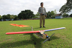 Aeromodelling. Hobbyists fly model aircraft in Karanganyar, Central Java, Indonesia stock photo