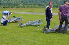 Aeromodelling. PENZA OBLAST, RUSSIA - JULY 15, 2017: Radio control flying models, World War II era near runway. The Russian Aeromodelling Cup in Bolshoy Vyas royalty free stock image