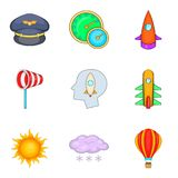 Aeronaut icons set, cartoon style. Aeronaut icons set. Cartoon set of 9 aeronaut vector icons for web isolated on white background Stock Photos