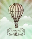Aeronautic adventure. Vector vintage illustration Stock Images