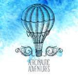 Aeronautic adventure. Vector vintage illustration Stock Images