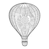 Aeronautic balloon coloring book for adults vector Royalty Free Stock Photos