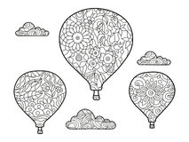 Aeronautic balloon coloring book for adults vector Stock Image