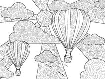 Aeronautic balloon coloring book for adults vector illustration. Royalty Free Stock Images
