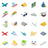 Aeronautic icons set, isometric style. Aeronautic icons set. Isometric set of 25 aeronautic vector icons for web isolated on white background Royalty Free Stock Image