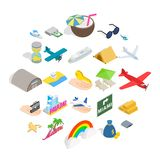 Aeronautic icons set, isometric style royalty free illustration