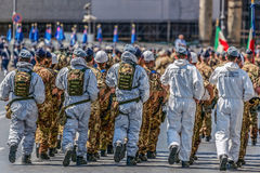 Aeronautica militare troops participating at military parade of. ROME, ITALY - JUNE 2, 2017: Military parade at Italian National Day. Aeronautica militare troops Royalty Free Stock Photos