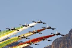 Aeronautica speciale italiana dell'unità - Frecce Tricolori - Immagini Stock