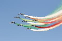 Aeronautica speciale italiana dell'unità - Frecce Tricolori - Fotografie Stock Libere da Diritti