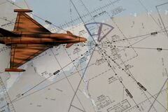 Free Aeronautical Chart, Known As IFR Flight Chart, With Miniature Steel Jet Aircraft Royalty Free Stock Image - 201425186