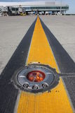 Light on taxiway. Aeronautical ground light boundary on taxiway Royalty Free Stock Images