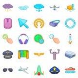 Aeronautical icons set, cartoon style. Aeronautical icons set. Cartoon set of 25 aeronautical vector icons for web isolated on white background Royalty Free Stock Image