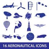 Aeronautical icons set eps10. Blue aeronautical icons set eps10 Royalty Free Stock Image