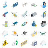 Aeronautical icons set, isometric style. Aeronautical icons set. Isometric set of 25 aeronautical vector icons for web isolated on white background Stock Photo