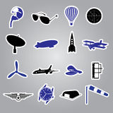 Aeronautical icons stickers eps10 Stock Photo