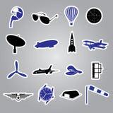Aeronautical icons stickers eps10. Trendy aeronautical icons stickers eps10 vector illustration