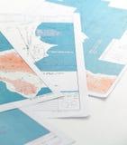 Aeronautical maps. Few aeronautical maps against clear white background Royalty Free Stock Image