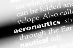 Aeronautics. Word in a dictionary.  concept royalty free stock image