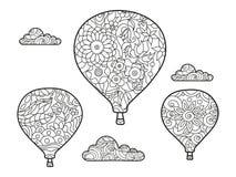 Aeronautisch ballon kleurend boek voor volwassenenvector Stock Afbeelding
