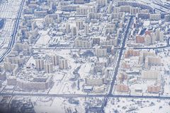 Aeronautisk fotoMoskva från flygplanet Arkivfoto