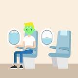 Aerophobia concept. Panic in the plane Stock Image