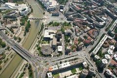 Aerophoto de Skopje Macédoine photographie stock