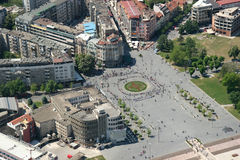 Aerophoto of a Skopje Macedoni. Areal view of Skopje down town from a helicopter Stock Image