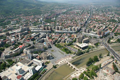 Aerophoto of a Skopje Macedoni. Areal view of Skopje down town from a helicopter Royalty Free Stock Image