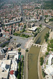Aerophoto of a Skopje Macedoni. Areal view of Skopje down town from a helicopter Royalty Free Stock Images