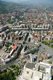 Aerophoto of Skopje Macedonia. Areal view of Skopje down town from a helicopter Stock Image